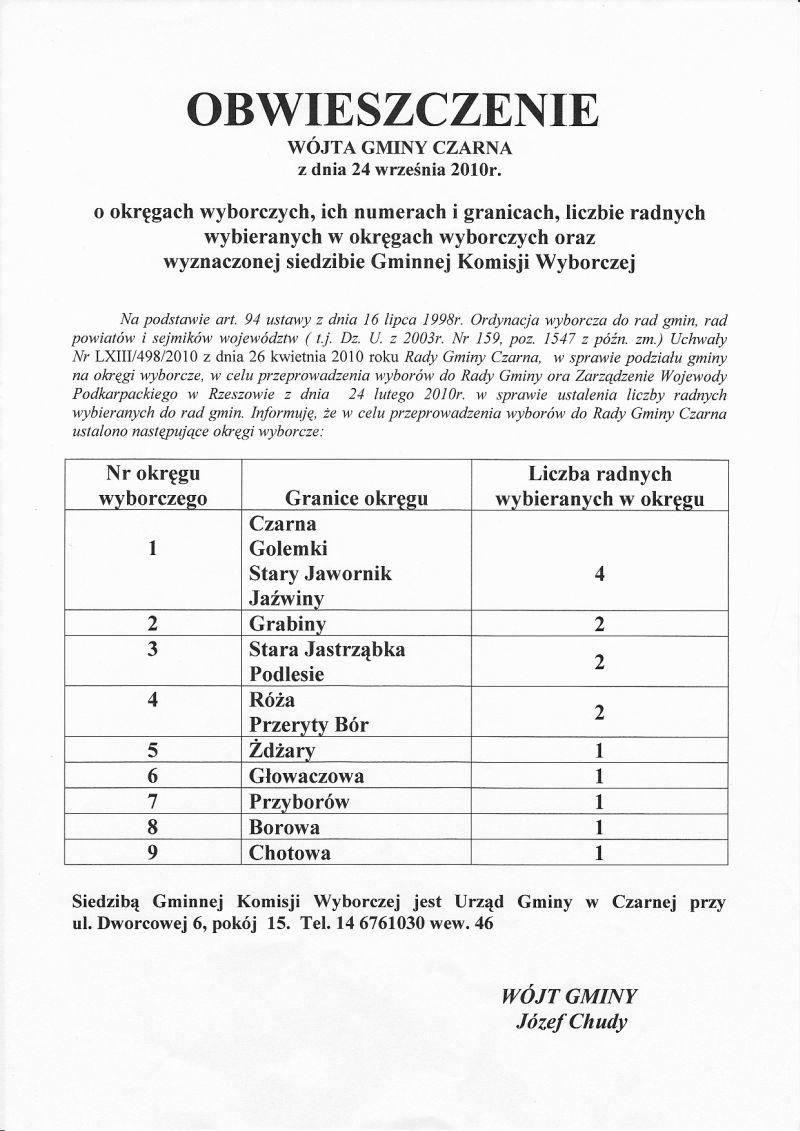 obwieszczenie wojta gminy czarna ookregach wyborczych.jpg