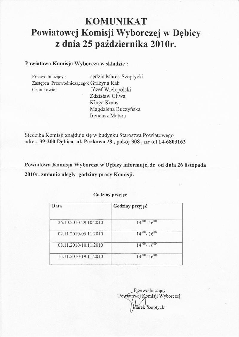 komunikat powiatowej komiski wyborczej w debicy z 25 10 2010.jpg